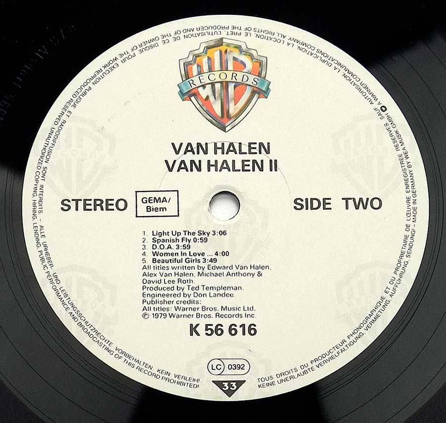 "VAN HALEN - Van Halen II 12"" VINYL LP ALBUM enlarged record label"