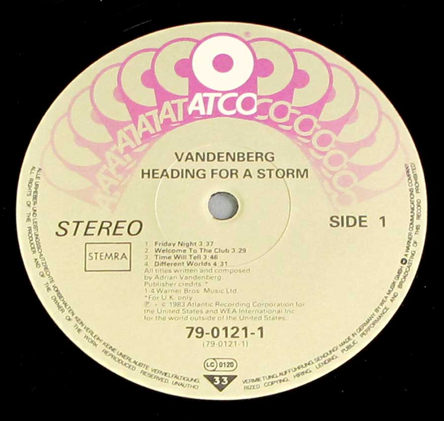 Close up of record's label VANDENBERG - Heading for a Storm Side One