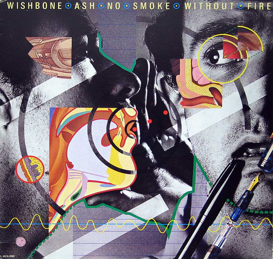 "WISHBONE ASH - No Smoke Without Fire + Insert 12"" VInyl LP Album front cover https://vinyl-records.nl"