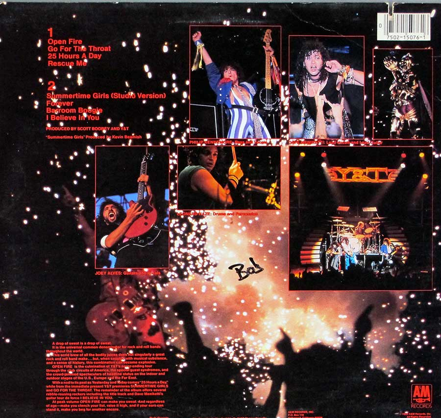 "Y & T - Open Fire Live USA Release 12"" LP VINYL ALBUM album back cover"