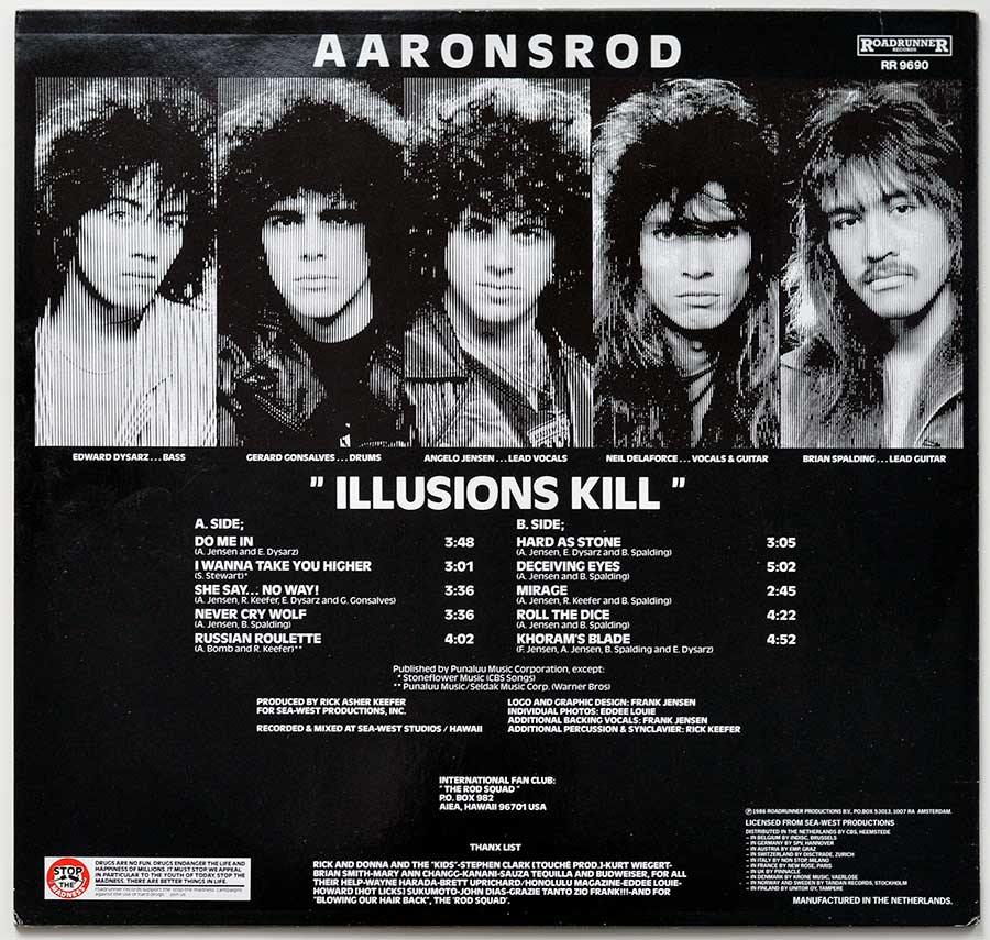 High Resolution Photo Album Back Cover of AARONSROD - Illusions Kill https://vinyl-records.nl