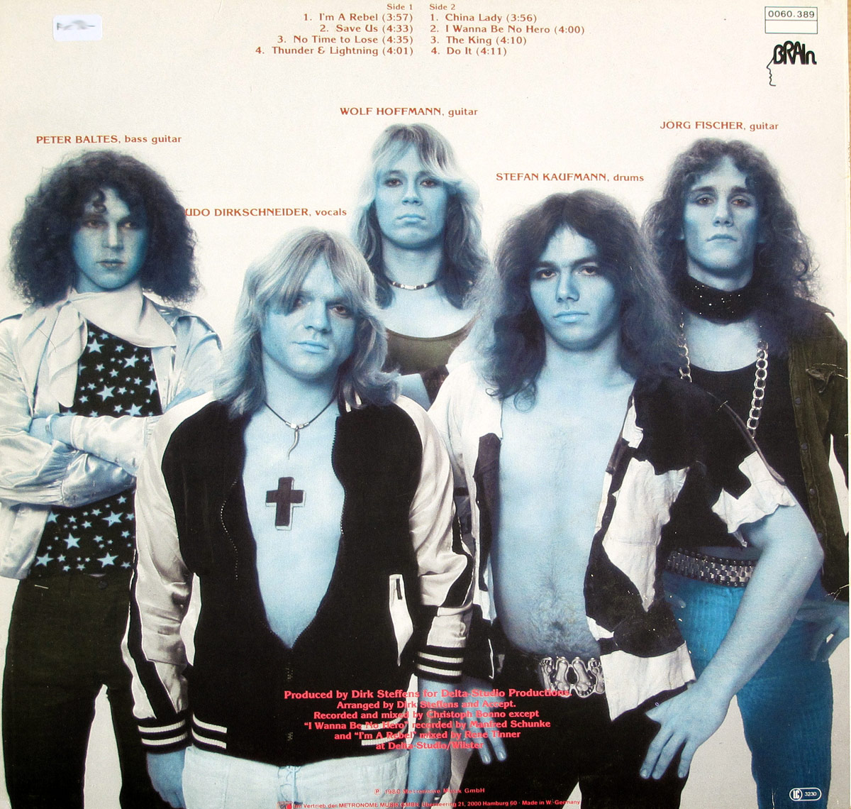 Photo of the Accept band on the album Back cover ACCEPT - I'm A Rebel ( title-less )