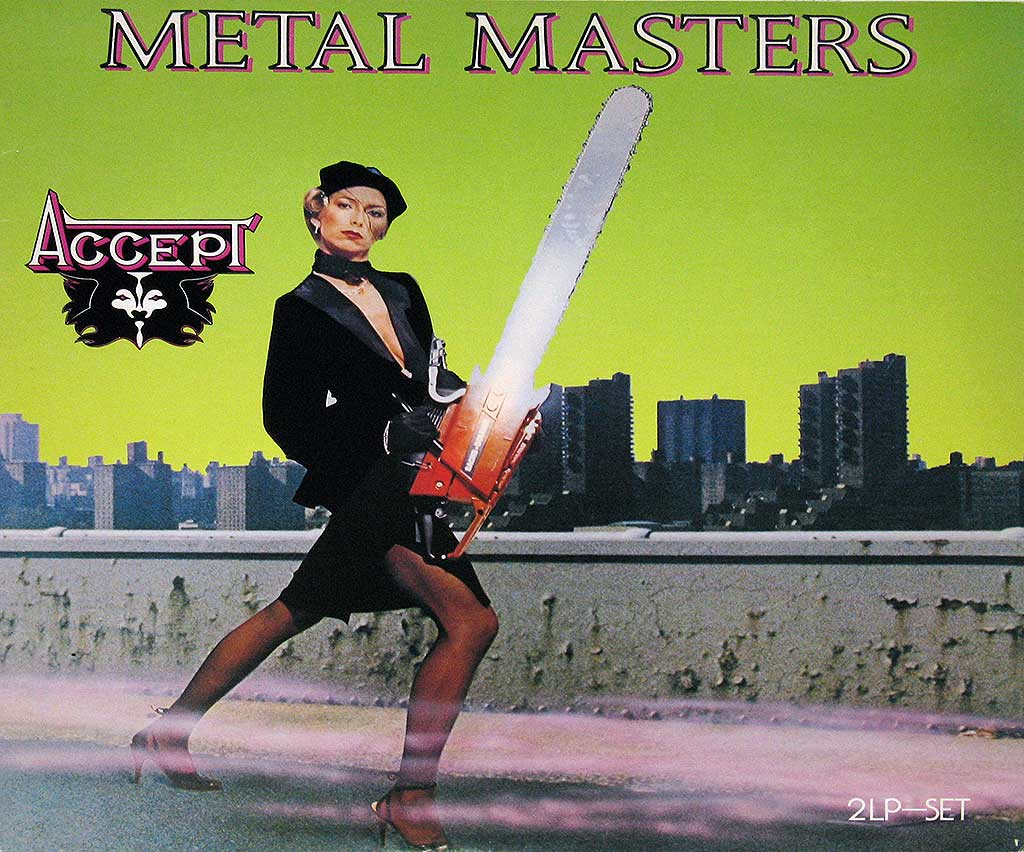 Woman with a Chainsaw on the Front Cover of the Album Metal Masters by ACCEPT.