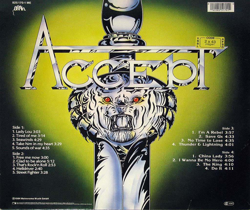 Lion Sword on the album back cover of Metal Masters by Accept