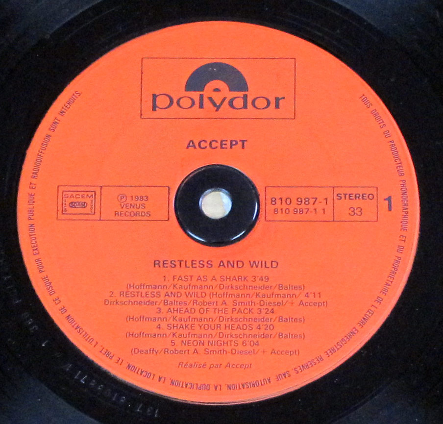 "Close-up  Photo of ""ACCEPT - Restless and Wild"" the Red Polydor Record Label"