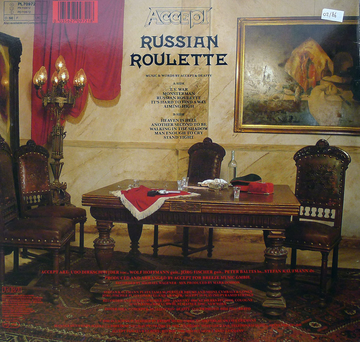 Hires photo of album back cover of Accept's Russian Roulette