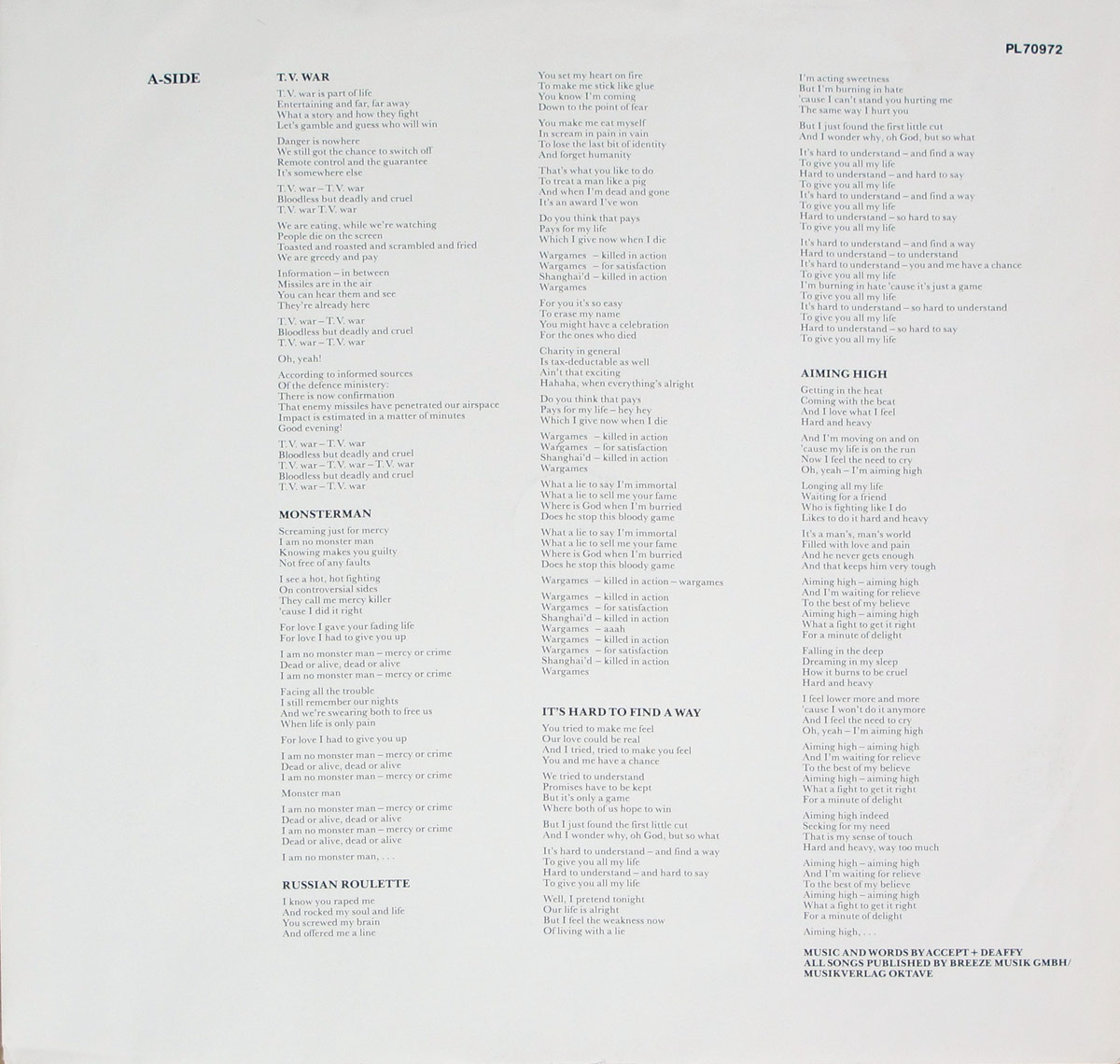 Lyrics custom inner sleeve of Russian Roulette by Accept Side Two