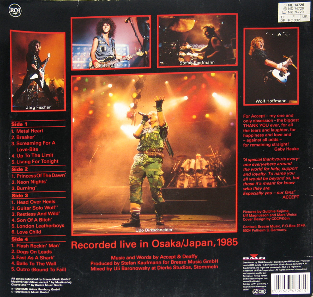 Photos of Accept performing live on-stage, album back cover Staying A Life