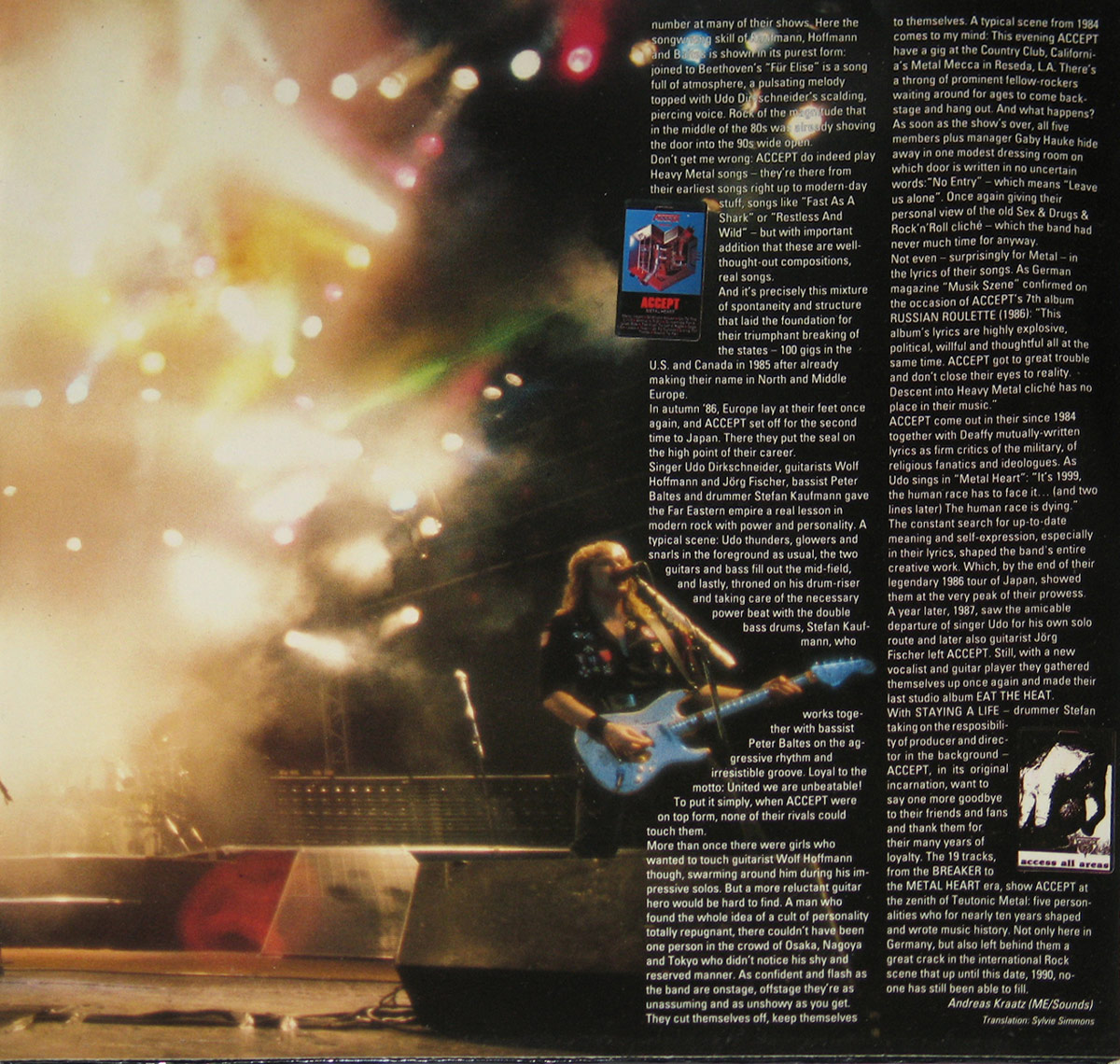 Fireworks and liner nodes on inside of Staying A Life Gatefold cover Side Two