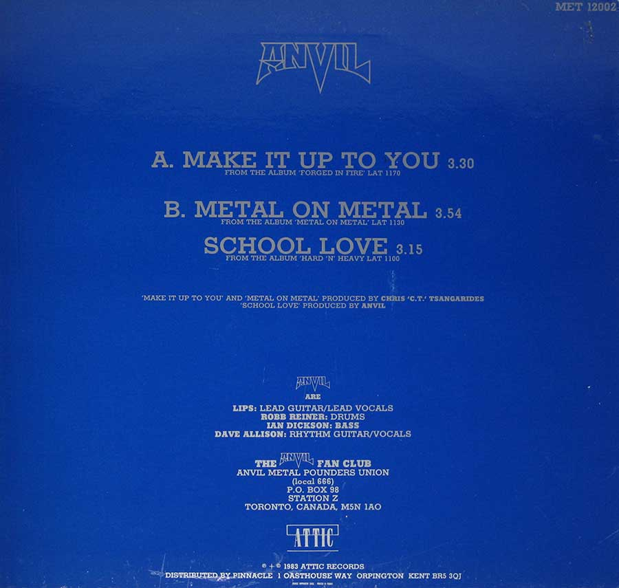 "ANVIL - Make It Up To You France Release 12"" Maxi Vinyl back cover"