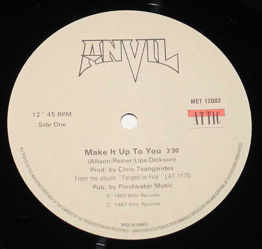 """Make It Up To You"" Record Label Details: Attic Records MET 12002 © & ℗ 1983 Attic Records Sound Copyright"