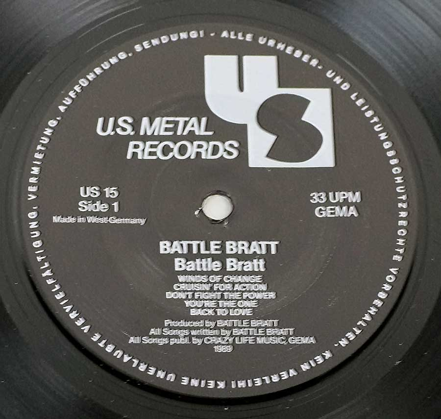 "Close-uP Photo of ""BATTLE BRATT Self-Titled"" US Metal Records Label"