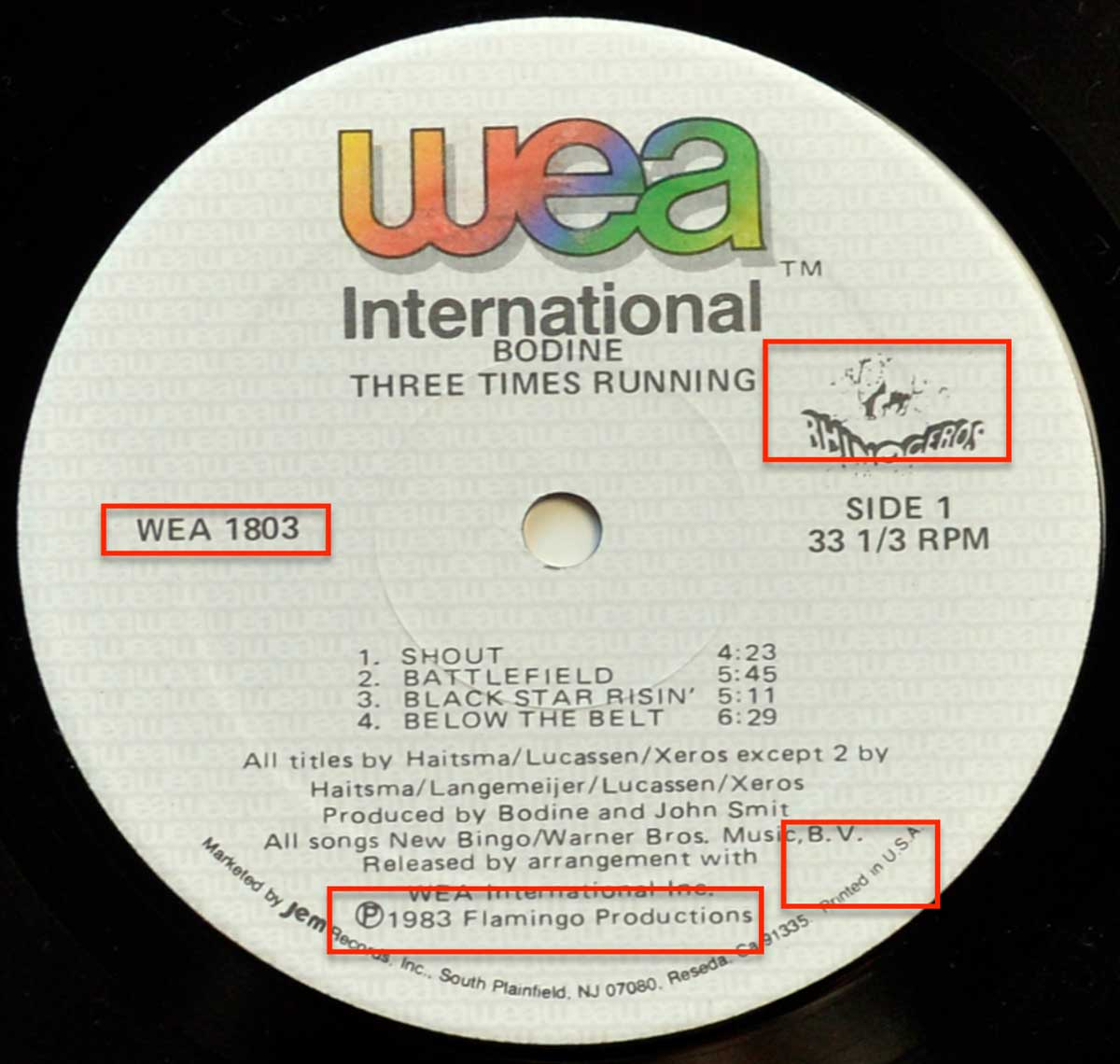 Close up of the White WEA International record's label