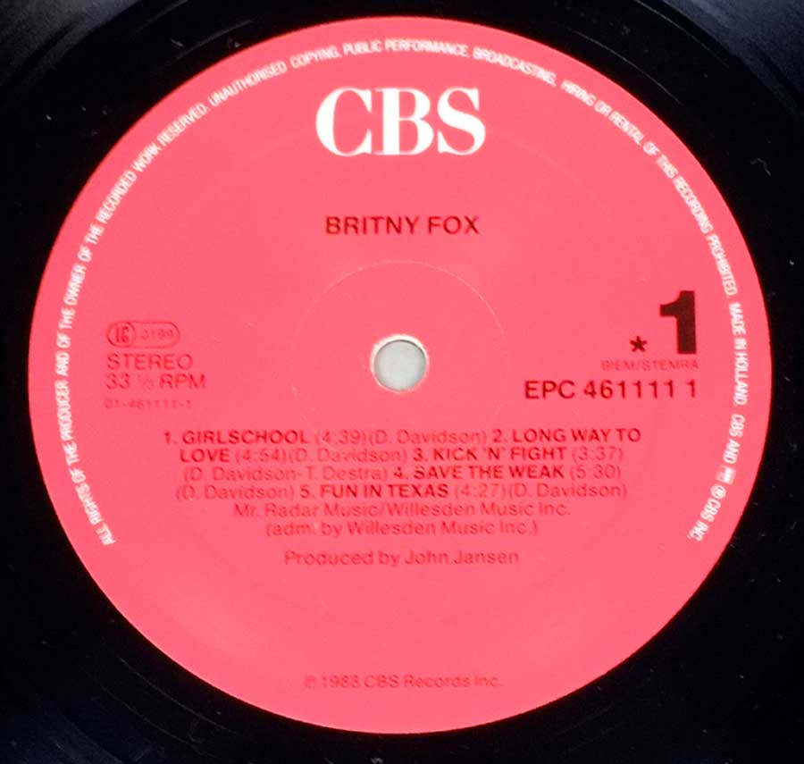 """Britney Fox"" Red Colour Record Label Details: CBS EPC 461111, Made in Holland"