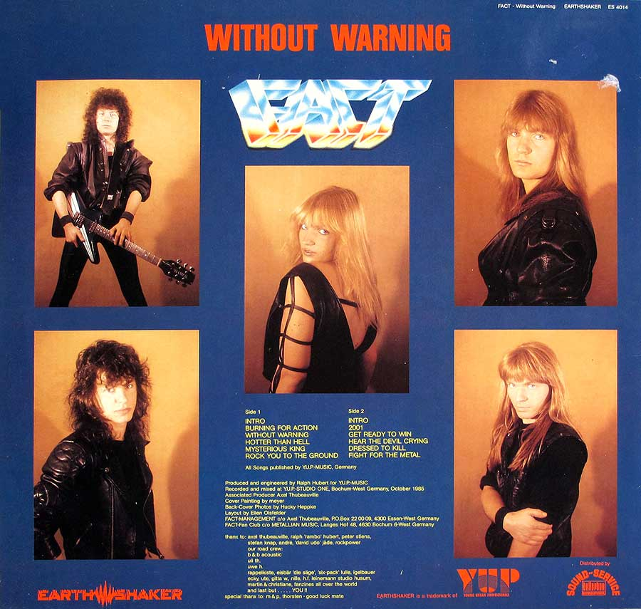 "FACT - Without Warning 12"" LP VINYL ALBUM back cover"