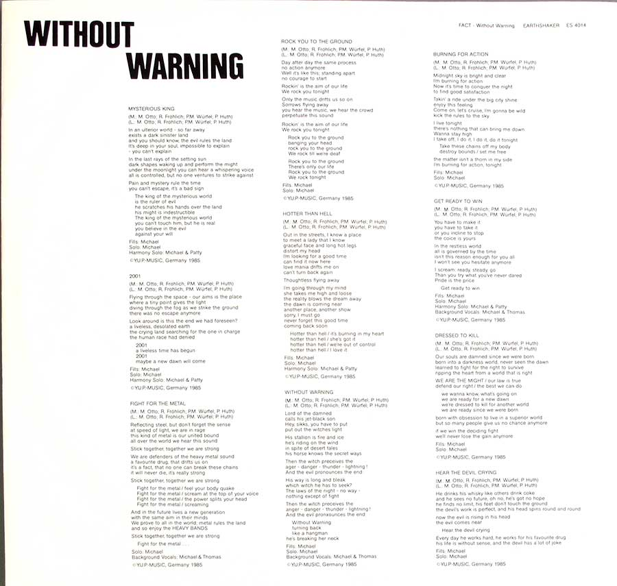 "FACT - Without Warning 12"" LP VINYL ALBUM custom inner sleeve"