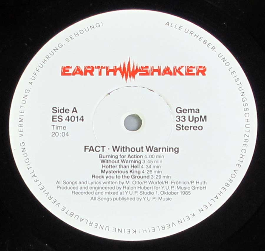 """Without Warning"" Record Label Details: Earthshaker ES 4014"
