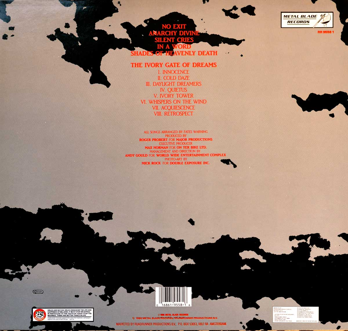 High Resolution Photo Album Back Cover of FATES WARNING No Exit https://vinyl-records.nl