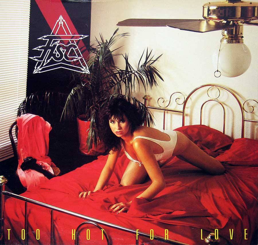 "Sexy Model On Top Of The Bed , Album Front Cover Of ""Too Hot For Love"""