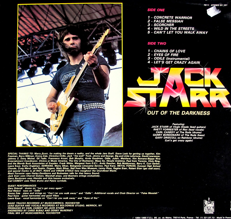 "Photo of album back cover JACK STARR - Out Of The Darkness From France 12"" LP Vinyl Album"