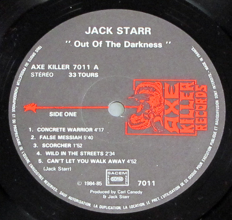 "Close up of record's label JACK STARR - Out Of The Darkness From France 12"" LP Vinyl Album Side One"