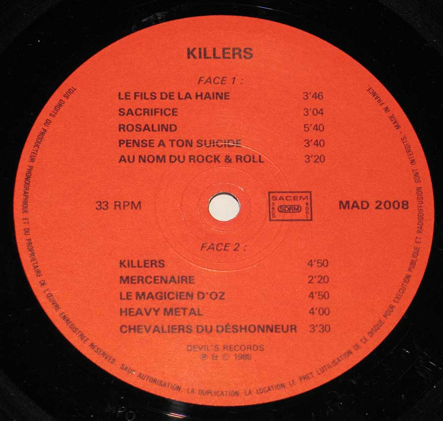 Close up of record's label KILLERS - Fils de la Haine Side Two