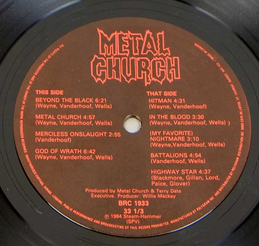 "Side Two Close up of record's label METAL CHURCH - Self-Titled Canada Banzai Records Debut Album  12"" Vinyl LP Album"