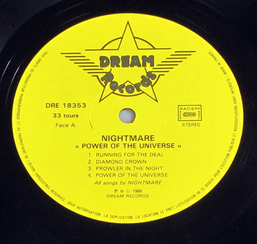 Close up of record's label NIGHTMARE - Power of the Universe Side One