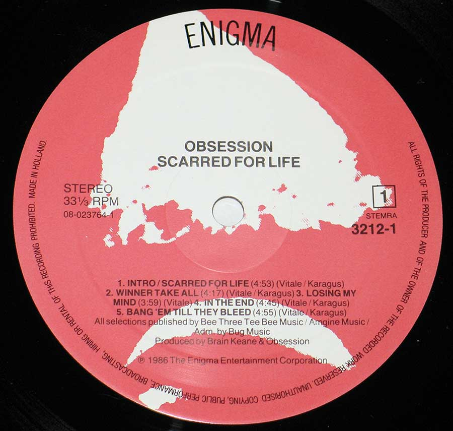 "Close up of Side One record's label OBSESSION - Scarred For Life 12"" VINYL LP ALBUM"