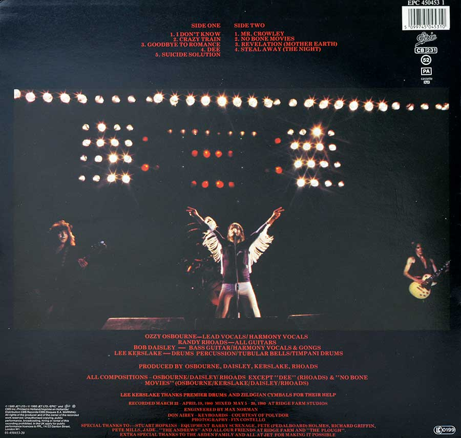 "OZZY OSBOURNE - Blizzard of OZZ 12"" Vinyl LP Album  back cover"