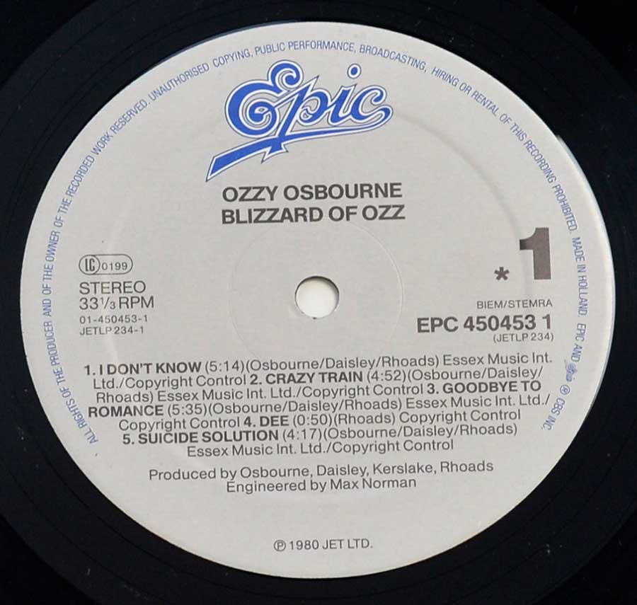 """Blizzard of OZZ"" Record Label Details: Epic – EPC 450453 1"