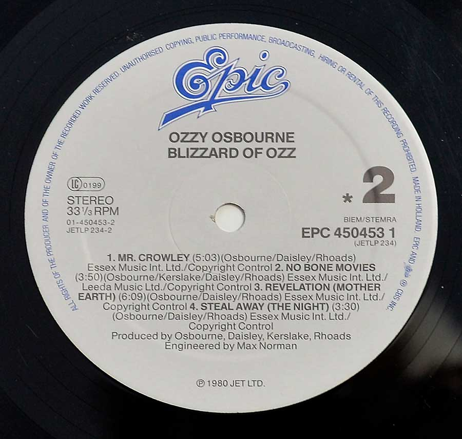 "OZZY OSBOURNE - Blizzard of OZZ 12"" Vinyl LP Album  enlarged record label"