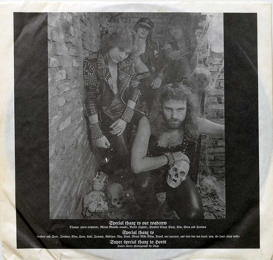 "Photo of the ""Running Wild"" band on the original custom inner sleeve"