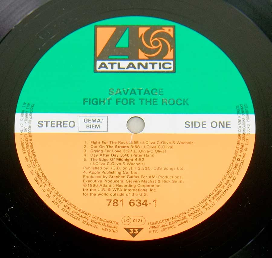 """Fight For The Rock"" Record Label Details: Atlantic 781 634-1"