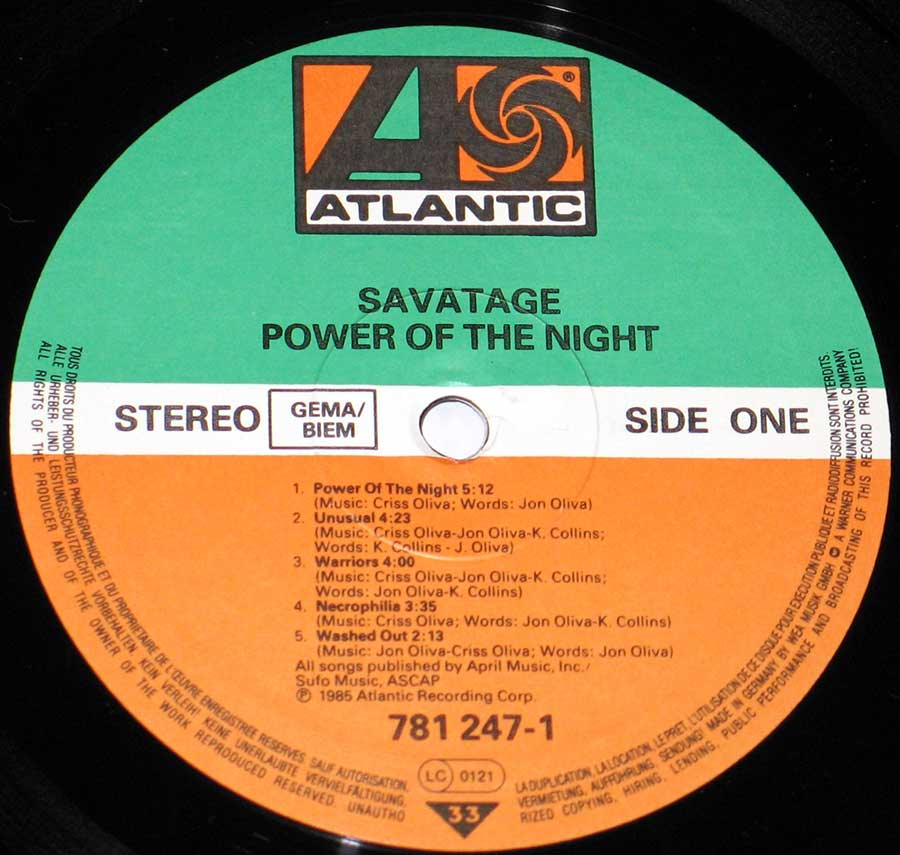 Front Cover Photo Of SAVATAGE - Power of the Night