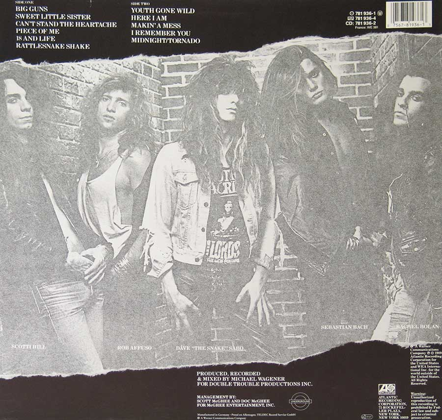"Photo of album back cover SKID ROW - S/T Self-Titled Heavy Metal 12"" Vinyl LP"