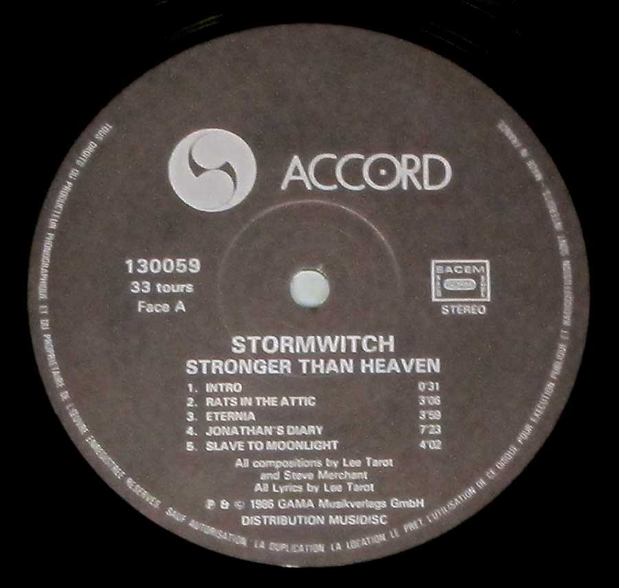 """Stronger Than Heaven"" Record Label Details: Gama Music Verlag, MusiDisc, Accord 130059"