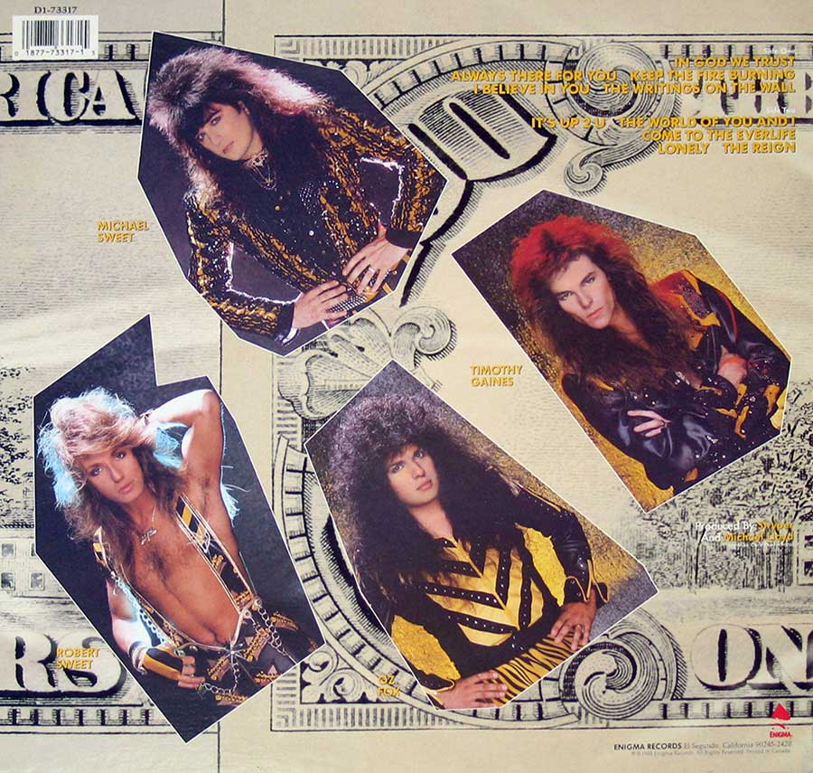 Photo of album back cover STRYPER - In God We Trust