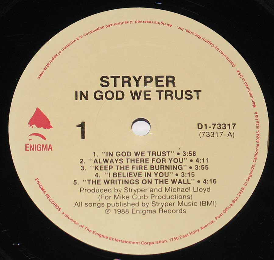 Close up of record's label STRYPER - In God We Trust Side One