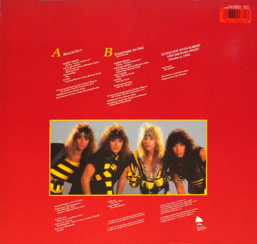"Photo of album back cover STRYPER - Reach Out 12"" Vinyl LP Album"