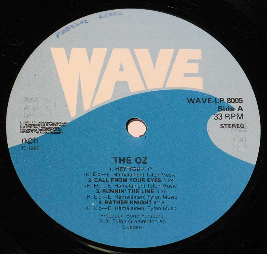 """Hey You"" Record Label Details: Wave LP 8005"