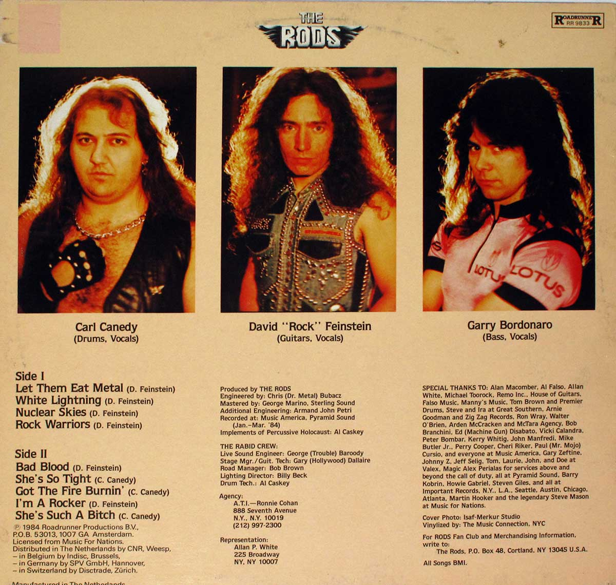 High Resolution Photo Album Back Cover of The RODS - Let Them Eat Metal https://vinyl-records.nl