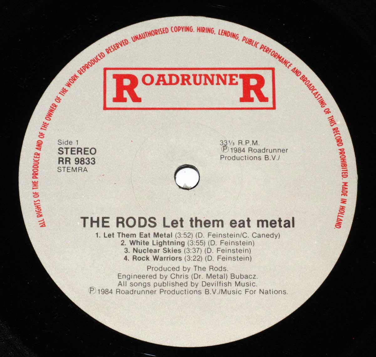 Enlarged High Resolution Photo of the Record's label The RODS - Let Them Eat Metal https://vinyl-records.nl