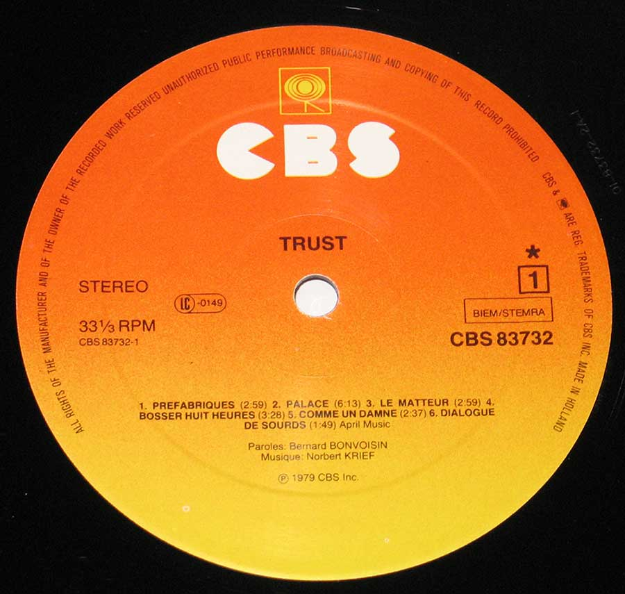 "Close-up Photo of ""Trust L'Elite S/T Self-titled"" Record Label"