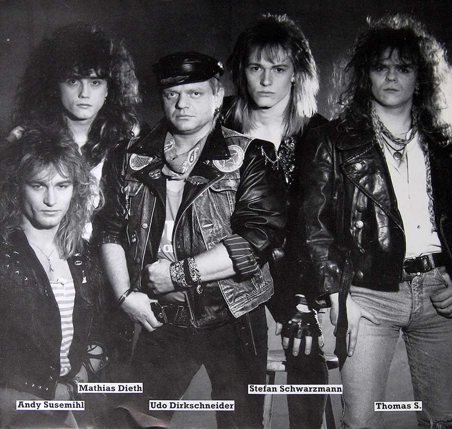 Group photo of the U.D.O.band on the album back cover