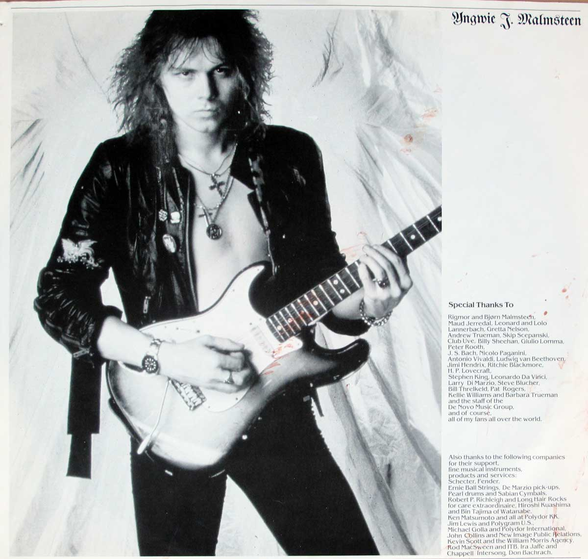 "Inner Sleeve   of ""YNGWIE MALMSTEEN'S RISING FORCE - Marching Out"" Album"