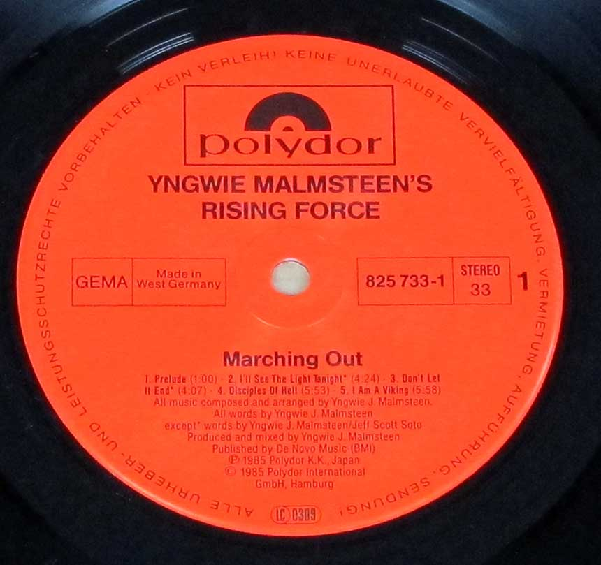 "Photo of ""YNGWIE MALMSTEEN'S RISING FORCE - Marching Out"" Red Polydor Record Label"