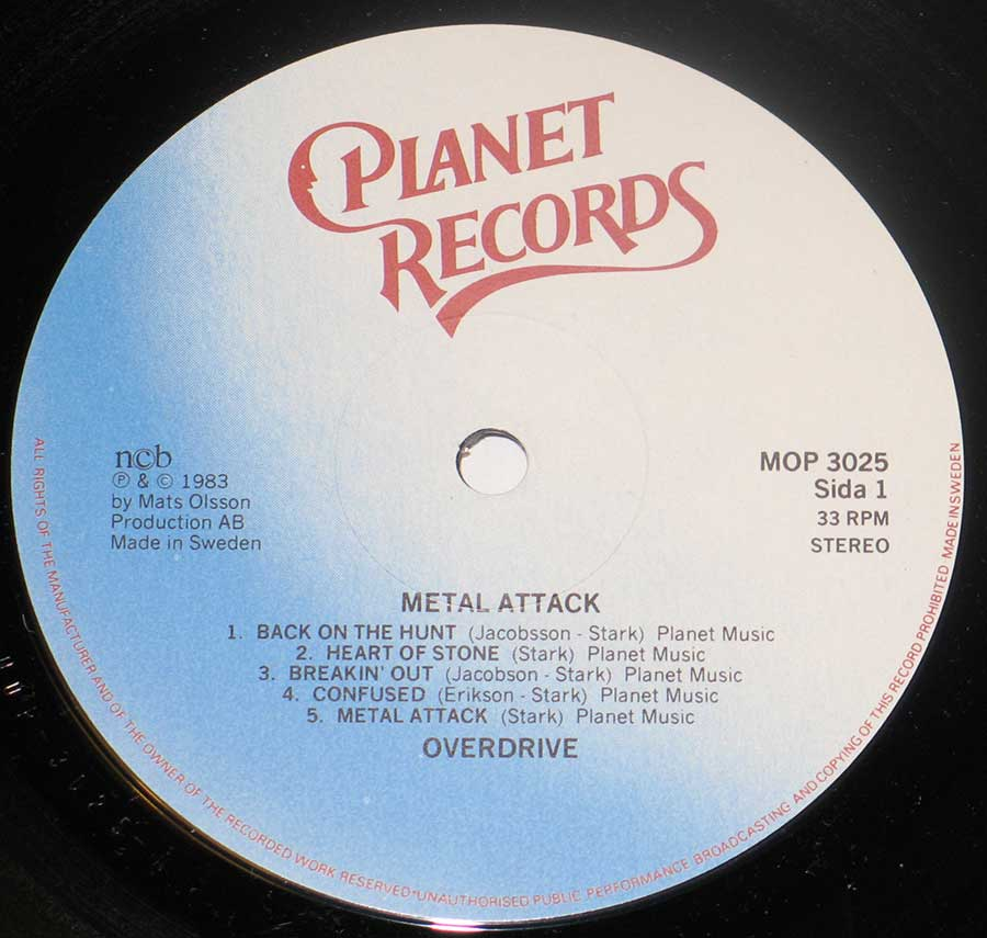 """Metal Attack"" Record Label Details: Planet Records MOP 3025"