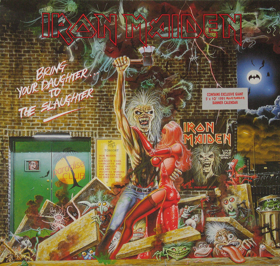 "IRON MAIDEN - Bring Your Daughter To The Slaughter 12"" Maxi-Single + Poster   front cover https://vinyl-records.nl"