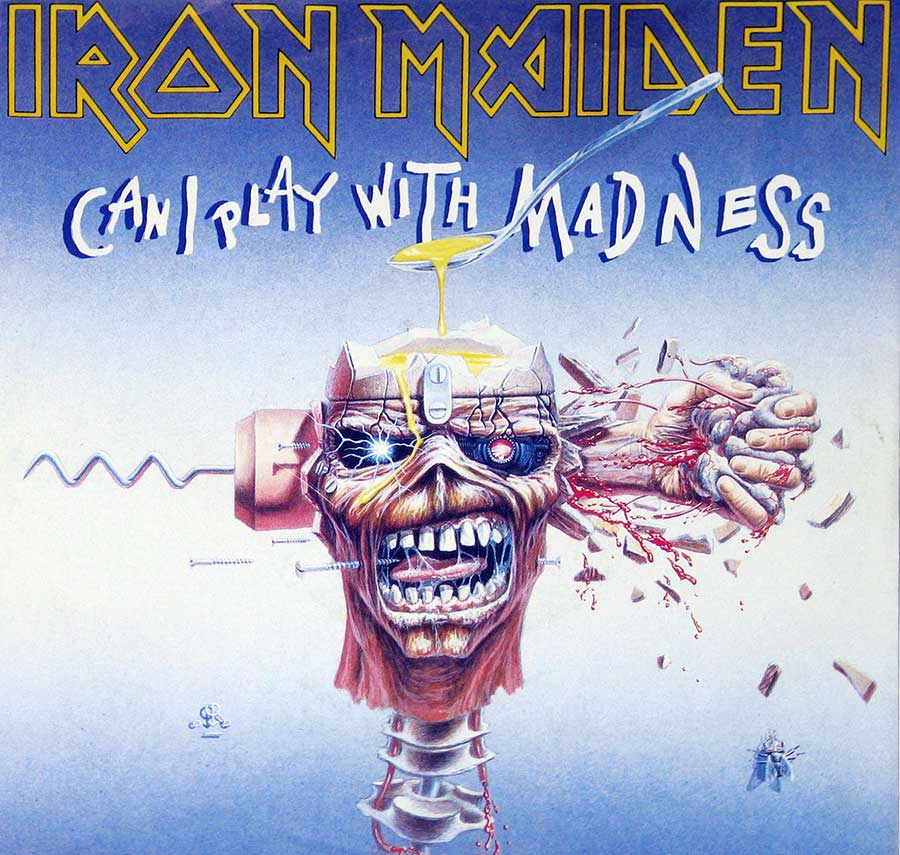 "IRON MAIDEN - Can I Play with Madness / Black Bart Blues 7"" Picture Sleeve Single   front cover https://vinyl-records.nl"
